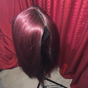 Burgundy Long Straight Wig
